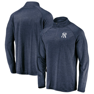 New York Yankees Fanatics Branded Iconic Striated Primary Logo Raglan Quarter-Zip Pullover Jacket - Navy