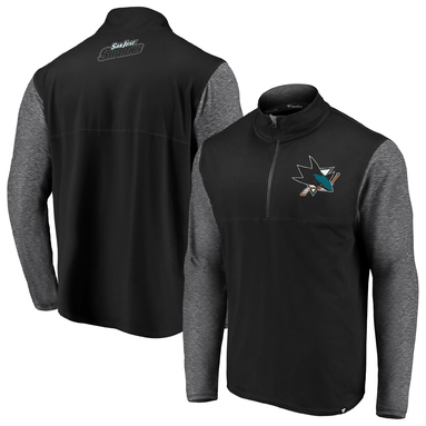 San Jose Sharks Fanatics Branded Made to Move Quarter-Zip Pullover Jacket – Black/Heathered Gray