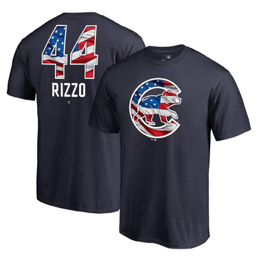Anthony Rizzo Chicago Cubs Fanatics Branded 2018 Stars & Stripes Big & Tall Banner Wave Name & Number T-Shirt – Navy