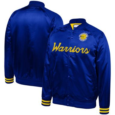 Golden State Warriors Mitchell & Ness Special Script Lightweight Satin Full-Snap Jacket - Royal