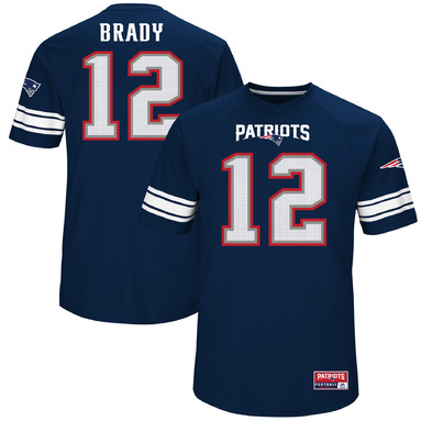 Tom Brady New England Patriots Majestic Hashmark Player Name & Number T-Shirt - Navy
