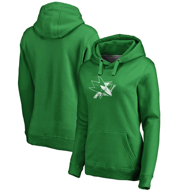 San Jose Sharks Fanatics Branded Women's St. Patrick's Day White Logo Pullover Hoodie - Kelly Green