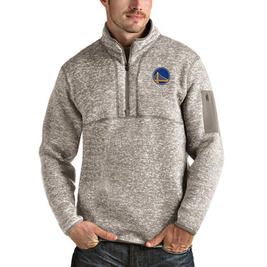 Golden State Warriors Antigua Fortune Quarter-Zip Pullover Jacket - Natural