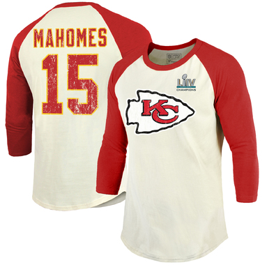 Patrick Mahomes Kansas City Chiefs NFL Pro Line by Fanatics Branded Super Bowl LIV Champions Name & Number 3/4-Sleeve Raglan T-Shirt – Cream/Red
