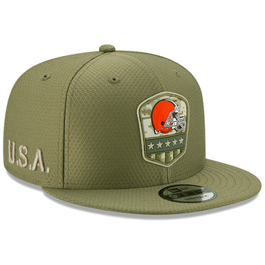 Cleveland Browns New Era 2019 Salute to Service Sideline 9FIFTY Snapback Adjustable Hat - Olive
