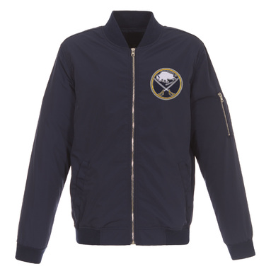 Buffalo Sabres JH Design Lightweight Nylon Bomber Jacket – Navy