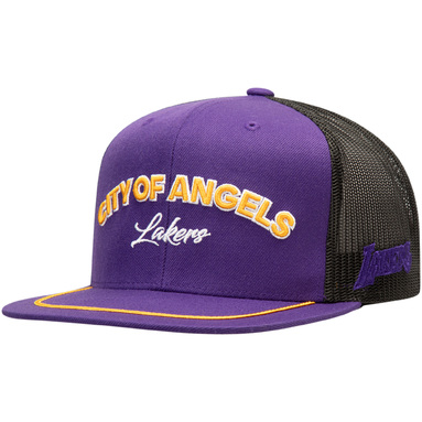 Los Angeles Lakers Mitchell & Ness City Heat Trucker Snapback Adjustable Hat – Purple
