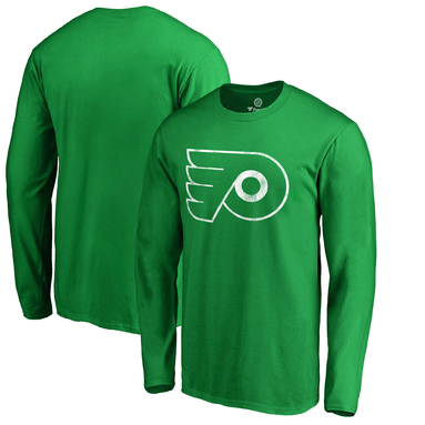 Philadelphia Flyers Fanatics Branded St. Patrick's Day White Logo Long Sleeve T-Shirt - Kelly Green