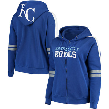 Kansas City Royals Soft As A Grape Women's Curvy Bio-Washed Full-Zip Hoodie - Royal