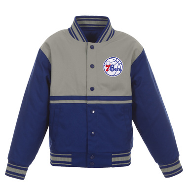 Philadelphia 76ers JH Design Youth Poly-Twill Full-Snap Jacket – Royal/Gray