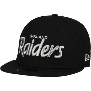 Oakland Raiders New Era Script Logo Omaha 59FIFTY Fitted Hat - Black