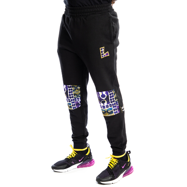 Los Angeles Lakers Two Hype Original 90's Team Kente Knee Patch Pants - Black