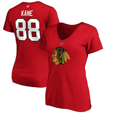 Patrick Kane Chicago Blackhawks Fanatics Branded Women's Authentic Stack Name & Number V-Neck T-Shirt – Red