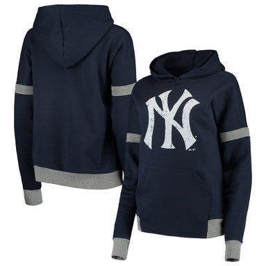 New York Yankees Majestic Threads Women's Iconic Fleece Pullover Hoodie - Navy/Gray