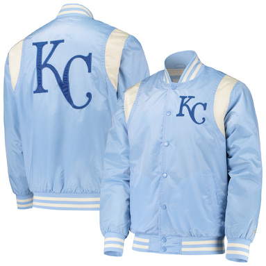 Kansas City Royals Starter Vintage Varsity Satin Full-Snap Jacket - Light Blue/Cream