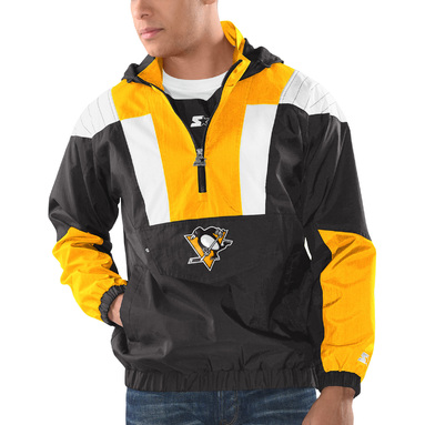 Pittsburgh Penguins Striker Hooded Half-Zip Jacket – Black