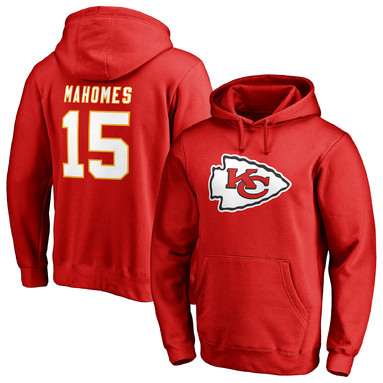 Patrick Mahomes Kansas City Chiefs NFL Pro Line by Fanatics Branded Team Logo Player Icon Name & Number Pullover Hoodie - Red