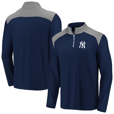 New York Yankees Fanatics Branded Iconic Clutch Quarter-Zip Pullover Jacket - Navy/Gray